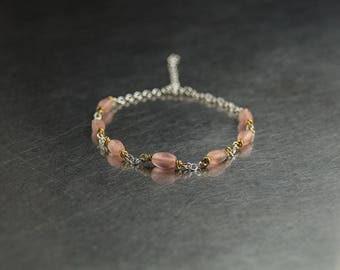 Sterling silver beaded anklet, mixed metal, raw brass, pink glass, upcycled jewellery, ankle bracelet, daughter gift, secret santa, under 20