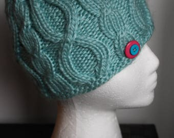 Adorable child size turquoise Cable-Knit hat