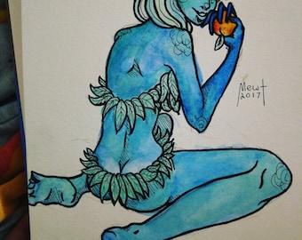 Blue Elf Lady (Gouache Painting)
