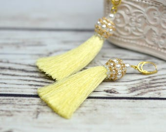 tassel earrings, long fringe gift, yellow earrings tassel, boho dangle earrings, long tassel earrings, boho gift girlfriend, christmas gifts