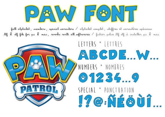 Paw Patrol font real ttf file compatible PC and Mac