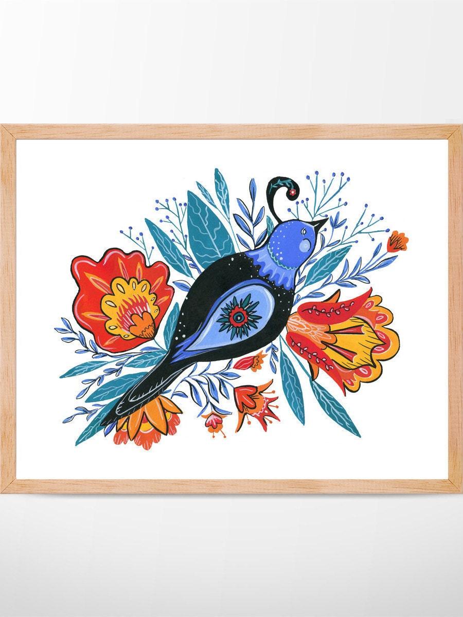 Folk Art Bird No.101, Giclee Print, Folk Art Print, Living Room ...
