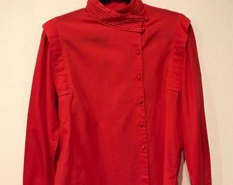 Vintage 80s Red Pleated Yoke Raglan ASymmetrical Button Down Blouse!  ! wildrosesvintage