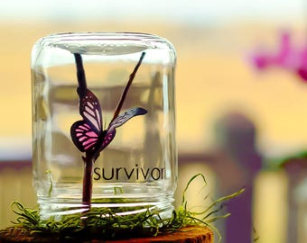 Survivor | Breast cancer survivor gift | Thoughtful birthday gifts | Encouragement butterfly gifts for her | Unique cancer awareness gifts