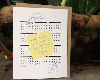 New Year Resolutions Greeting Card // Awwww Resolutions... They never sticks, don't they? Oh WELL! (Available in FR and EN)