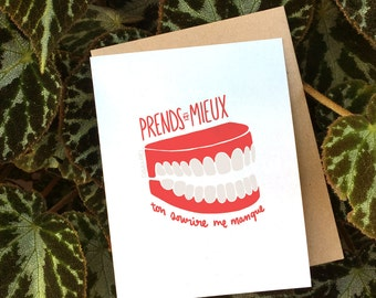 Get Better! I miss your smile (fake or not) // Recovery Greeting Card (Available in EN & FR)