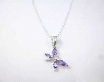 Dragonfly Necklace, cz Amethyst Pendant,Dainty Necklace, Purple Necklace, Dragonfly Pendant, Bug Jewelry