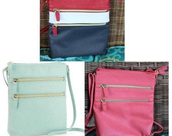 Crossbody Handbag/  Monogrammed / Beautiful Faux Leather