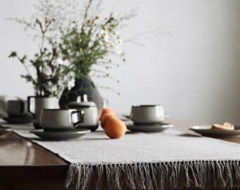 Rustic linen burlap table runner - modern farmhouse table - custom table runner by Linenspace   0058