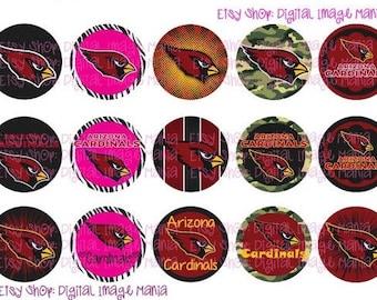 INSTANT Download Arizona CARDINALS Logos Inspired 4x6 Digital Printable 1 Inch Circle Bottle Cap Images