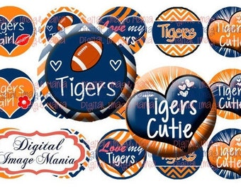 INSTANT Download TIGERS 4x6 Digital Printable 1 Inch Circle Bottle Cap Images (106)