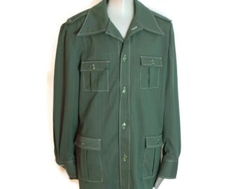 Mens Forest Green 70's Leisure Suit in Polyester
