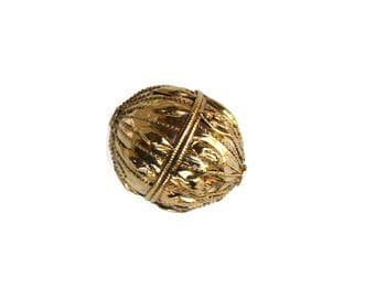 Yemini Globe Bead - Gold dipped Silver Tribal Bead- Early to Mid 20th Century