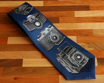 Vintage Cameras Navy Blue Men's Necktie by Isrida Singapore - Photographer's Tie in All Silk
