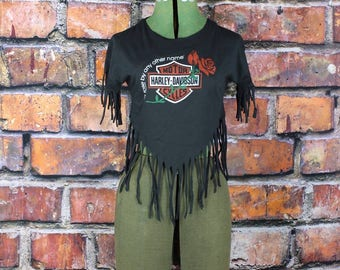 Vintage 80s NOS Harley Davidson Fringed Rock T-Shirt Top, size L