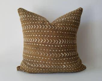 Authentic Mudcloth Pillow, Mali Bogolan, Raw Umber, Bronze, Off-White, Beige