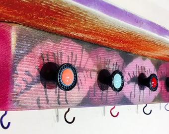 Makeup organizer floating shelves wall shelf with hooks /pallet wood shelving girls boho bedroom nightstand decor kiss lips 7 hooks 6 knobs