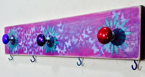 Coat rack /entryway organizer/ pallet wood wall hanging art decor storage boho bedroom colorful Butterflies daisies 3 knobs 4 hooks