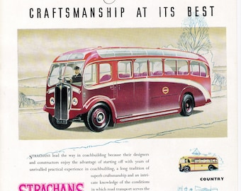 Strachans red bus coach 50s ad British  transport veteran car motoring vintage print illustration home office décor gift for him car lover