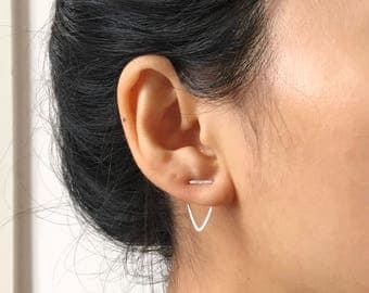Double Piercing Two Hole Earring | Triangle Earrings Ear Jacket |Chevron Earrings | V Earrings Ear Crawler |Delicate Earring|Minimal Earring