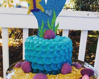 Mermaid Tail Cake Topper | Under the Sea Party | Mermaid Theme | Glitter Decorations | First Birthday