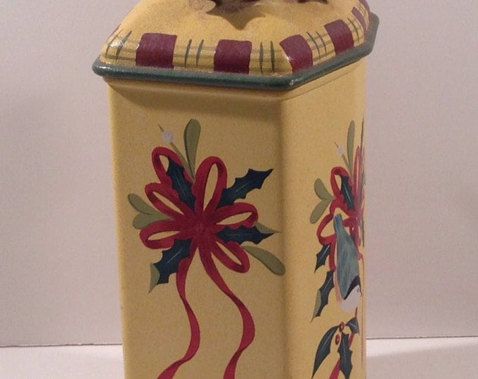 Vintage Lenox Stoneware Winter Greetings Canister with tartan trim, birds, sculptured burgundy ribbon and holly sprig at Crafts by the Sea