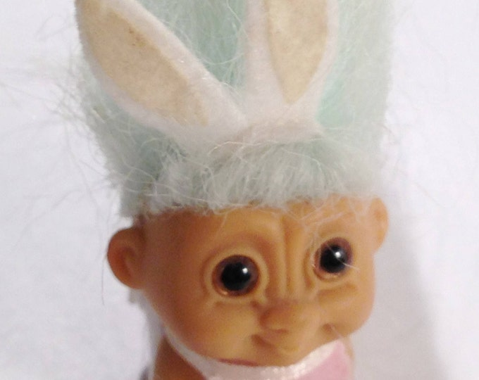 """Vintage 2"""" RUSS Easter Crawling Baby Troll with Pink Bunny Ears, a Bib and Diaper with Light Blue Hair and Hazel Eyes from Crafts by the Sea"""