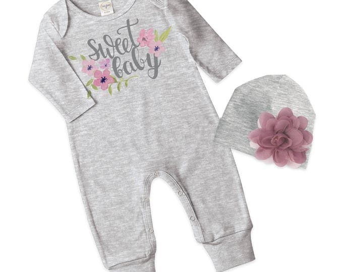 Baby Girl Romper, Newborn Girl Take Home Romper, Sweet Baby Gray Baby Bodysuit, Grey Long Sleeve Romper, TesaBabe RC810HGBK0000 SweetBaby