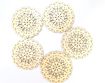 "5 WOOD DIE CUTS consist of 5 Intricate and Stitchable 3"" Medallion-Type Plywood Die Cuts Scalloped with a Tear Drop Doily Design"