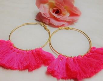 Pink Tassel Hoops, Gold Statement Hoops, Fringe Hoops, Gold Hoops, Tassel Hoops, Fan Earrings, Large Hoops, Pink Hoops, Hot Pink Fan Hoops