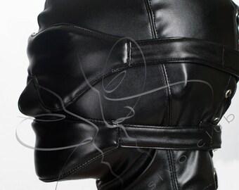 Leather hood mask with soft blindfold and mouth bondage, Bondage hood / GIMP mask, BDSM fetish mask & accessories, handmade bdsm masks sizes