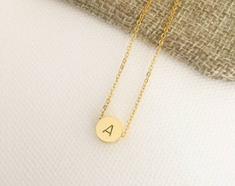 Round initial necklace, personalised necklace, initial stamped necklace, personalised gift, bridesmaid necklace, bridesmade gift, gift ideas