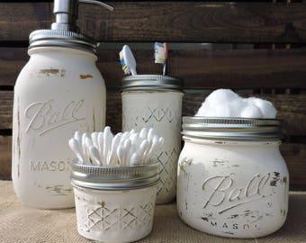 mason jar bathroom set. Rustic Mason Jar Bathroom Set  Bath Decor jar bathroom Etsy