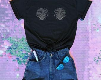 Mermaid Shell Bra Tshirt Mermaid Bra Tee Festival Clothing Women's Tshirt Tumblr Shirt • PF00
