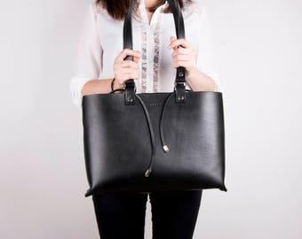 Black Leather Tote, Leather Shoulder Bag, Black Tote, Handmade Leather Tote, Full Grain Leather, Back to School