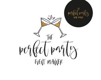 Hand-drawn  Logo  ,  Adorable Party  Logo , Perfect For Your Business! Includes a submark/sticker!