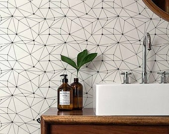 minimalistic geometric removable self adhesive temporary wallpaper wall mural wall covering - Temporary Walpaper