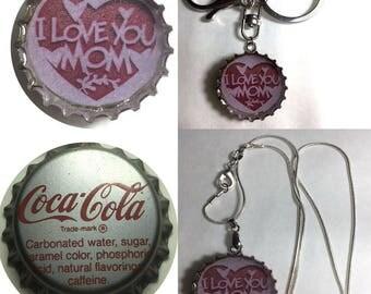 Coke Coca-Cola Soda bottle cap I Love You Mom Keychain, Pendant, Necklace