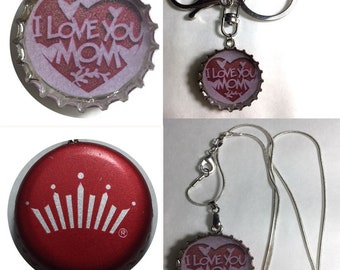 Budweiser BUD Beer bottle Cap I Love you MOM Keychain, Pendant, Necklace