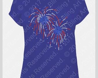 Rhinestone Transfer, Rhinestone Fireworks Transfer, Patriotic Iron on Bling Design, Red White and Blue Heat Transfer, Do It Yourself #521