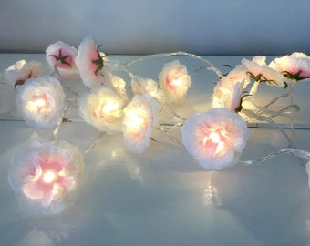Shabby chic rose fairy led lights, Light oink rose Lights  Garland, 20 led lights