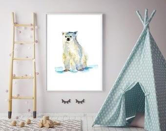 Polar bear art  baby ice bear Watercolor painting - Giclee Print - young polar bear  - Nursery Animal Painting -  illustration ice bear