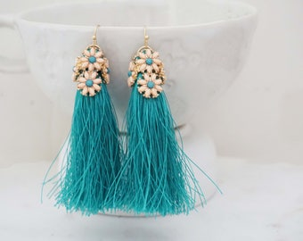 Teal Blue and Pink Daisy Tassel Earrings
