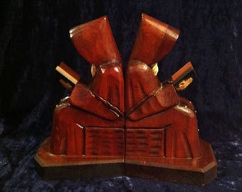 Vintage Hand Carved Wooden  Reading Monk Bookends