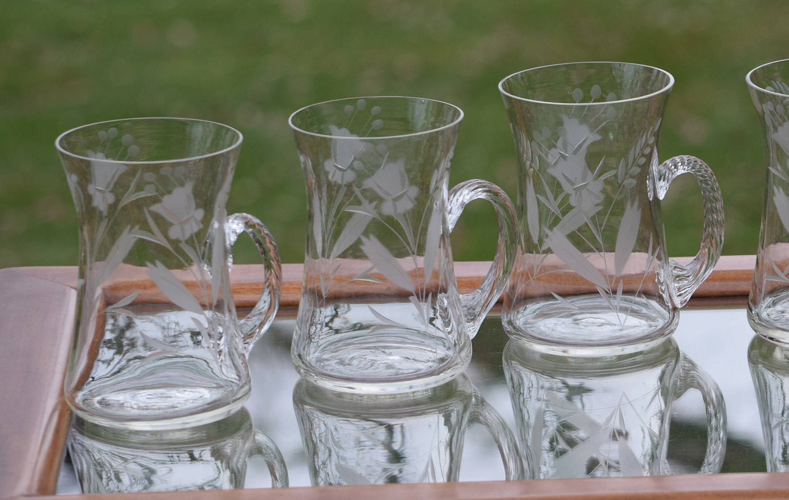 Vintage etched blown glass coffee mugs set of 6 unique for Cool glass coffee mugs