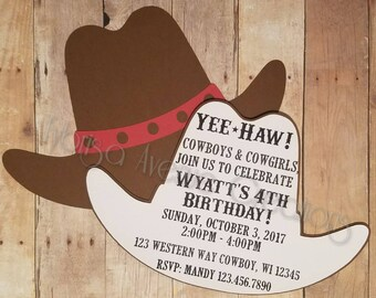 12 Cowboy Invitations - Cowgirl Birthday Invitations - Rodeo Theme Birthday Invitations