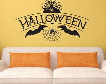 halloween wall decal halloween wall sticker spider web decal spider wall decal bat wall decal bat