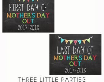 First Day of Mother's Day Out Sign and Last Day of School Sign, INSTANT DOWNLOAD Boy First Day of MDO Sign 8x10, Girl Back to School Sign