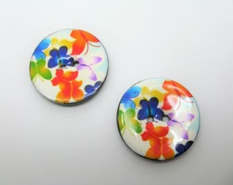 Set of 2 large buttons 3.4 cm lacquered wooden butterflies - ref 7 design