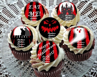 Edible Red and Black Striped halloween cupcake toppers-edible halloween cake topper-edible halloween cookie,  biscuit topper-edible print
